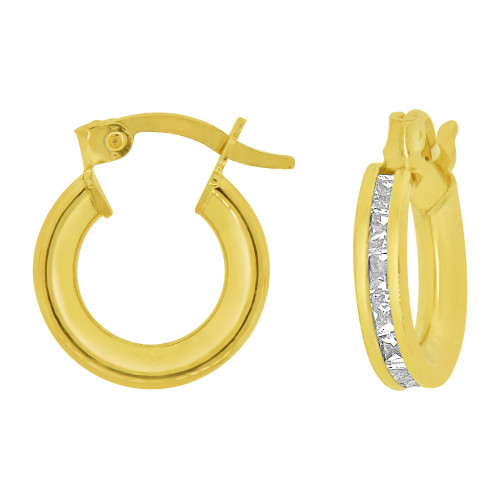 14k Yellow Gold, Round 3mm Channel Set Created CZ Earring 8mm Inner Snap Down (E056-001)