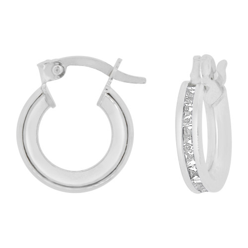 14k Gold White Rhodium, Round 3mm Wide Channel Set Created CZ Earring 8mm Inner Snap Down (E056-051)