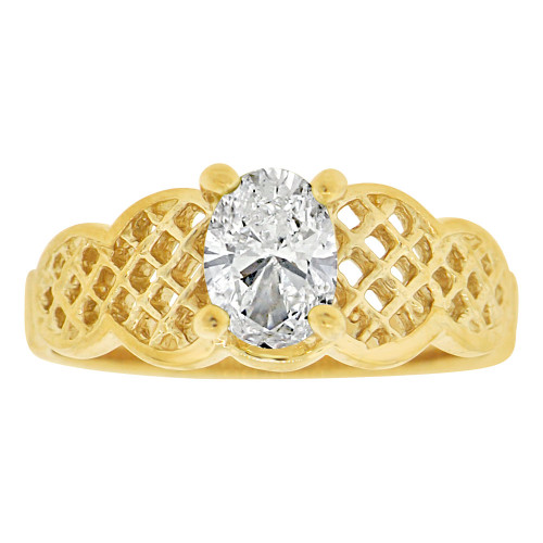 14k Yellow Gold, Filigree Classic Ring Created Color Oval CZ Simulated Apr Birthstone