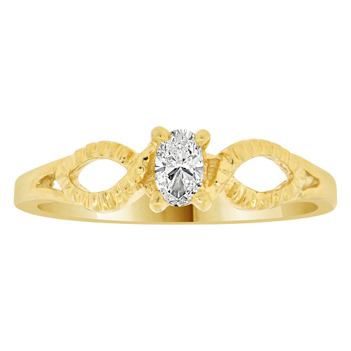 14k Yellow Gold, Dainty Solitaire Ring Created Color Oval CZ Simulated Apr Birthstone