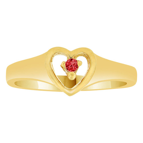 14k Yellow Gold, Classic Heart Ring Created Color CZ Simulated Jan Birthstone