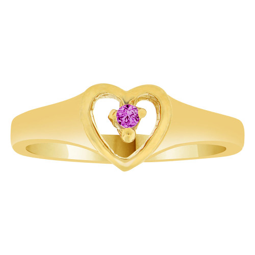 14k Yellow Gold, Classic Heart Ring Created Color CZ Simulated Feb Birthstone
