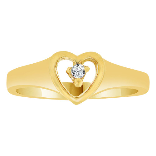 14k Yellow Gold, Classic Heart Ring Created Color CZ Simulated Apr Birthstone