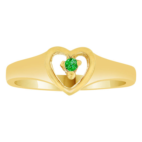 14k Yellow Gold, Classic Heart Ring Created Color CZ Simulated May Birthstone