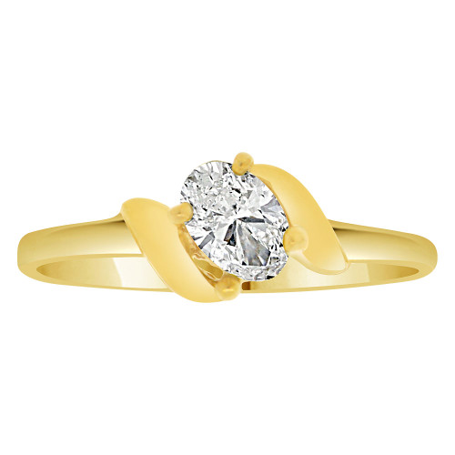 14k Yellow Gold, Classic Solitaire Ring Created Color Oval CZ Simulated Apr Birthstone