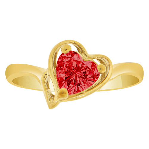 14k Yellow Gold, Solitaire Modern Heart Ring Created Color CZ Simulated Jan Birthstone