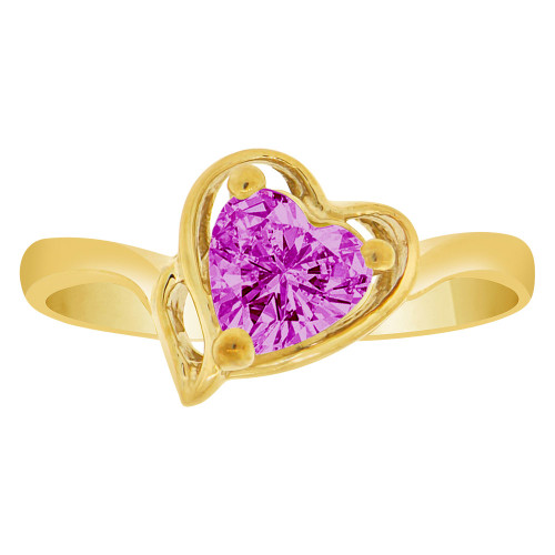 14k Yellow Gold, Solitaire Modern Heart Ring Created Color CZ Simulated Feb Birthstones
