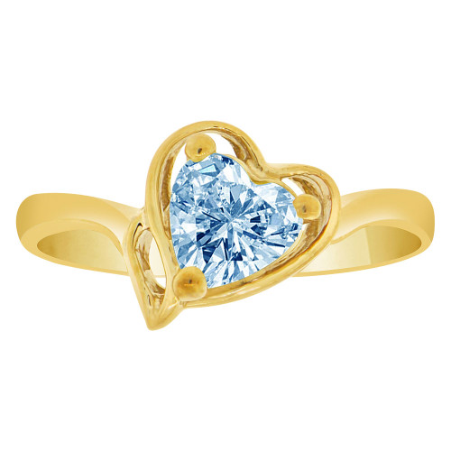 14k Yellow Gold, Solitaire Modern Heart Ring Created Color CZ Simulated Mar Birthstones