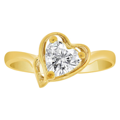 14k Yellow Gold, Solitaire Modern Heart Ring Created Color CZ Simulated Apr Birthstones