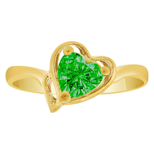 14k Yellow Gold, Solitaire Modern Heart Ring Created Color CZ Simulated May Birthstones