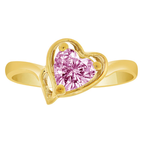 14k Yellow Gold, Solitaire Modern Heart Ring Created Color CZ Simulated Jun Birthstones