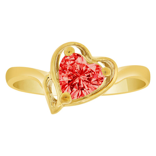14k Yellow Gold, Solitaire Modern Heart Ring Created Color CZ Simulated Jul Birthstones