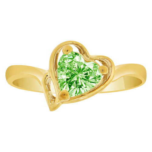 14k Yellow Gold, Solitaire Modern Heart Ring Created Color CZ Simulated Aug Birthstones