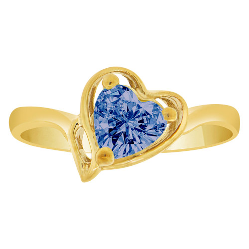 14k Yellow Gold, Solitaire Modern Heart Ring Created Color CZ Simulated Sep Birthstones