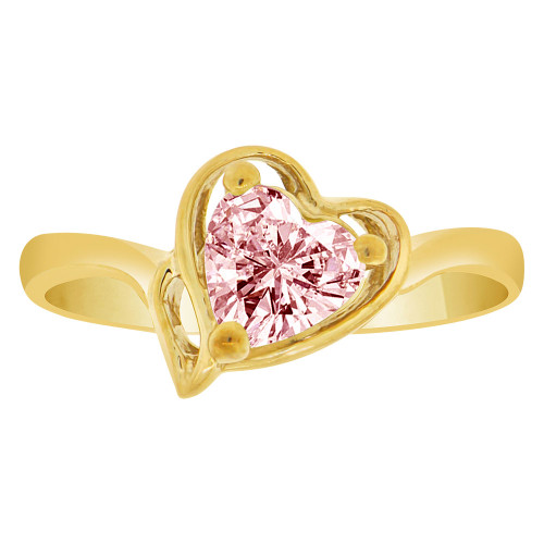 14k Yellow Gold, Solitaire Modern Heart Ring Created Color CZ Simulated Oct Birthstones