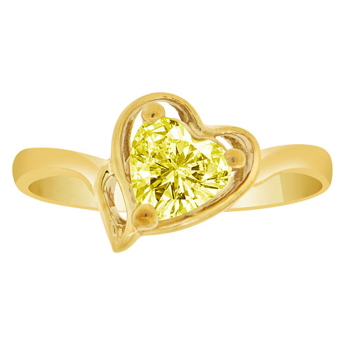 14k Yellow Gold, Solitaire Modern Heart Ring Created Color CZ Simulated Nov Birthstones