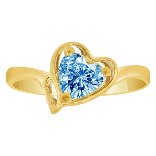 14k Yellow Gold, Solitaire Modern Heart Ring Created Color CZ Simulated Dec Birthstones