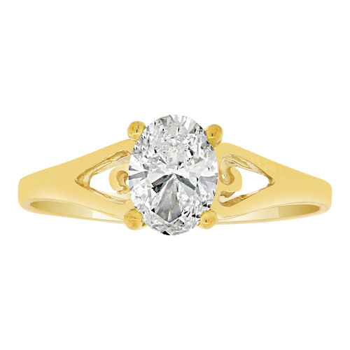 14k Yellow Gold, Classic Solitaire Ring Created Oval Color CZ Simulated Apr Birthstones