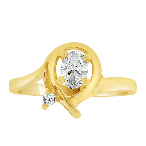 14k Yellow Gold, Stylish Modern Ring Created Oval Color CZ Simulated Apr Birthstones