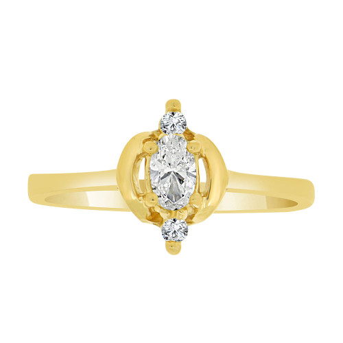 14k Yellow Gold, Stylish Modern Style Ring Created Oval Color CZ Simulated Apr Birthstones