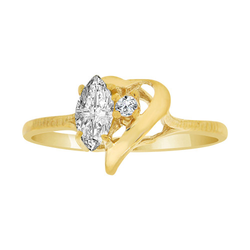 14k Yellow Gold, Stylish Modern Heart Ring Created Color Marquise CZ Simulated Apr Birthstones