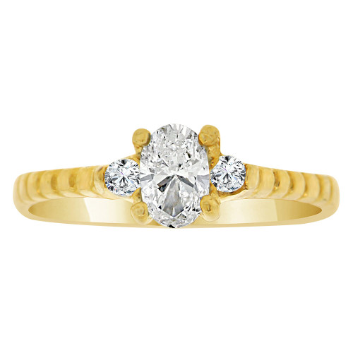 14k Yellow Gold, Simple Classic Ring Created Oval Color CZ Simulated Apr Birthstones
