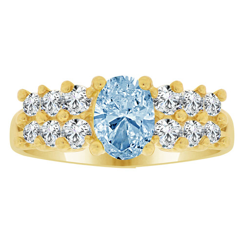 14k Yellow Gold, Fancy Cluster Ring Created Oval Color CZ Simulated Mar Birthstones