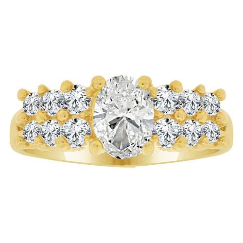 14k Yellow Gold, Fancy Cluster Ring Created Oval Color CZ Simulated Apr Birthstones