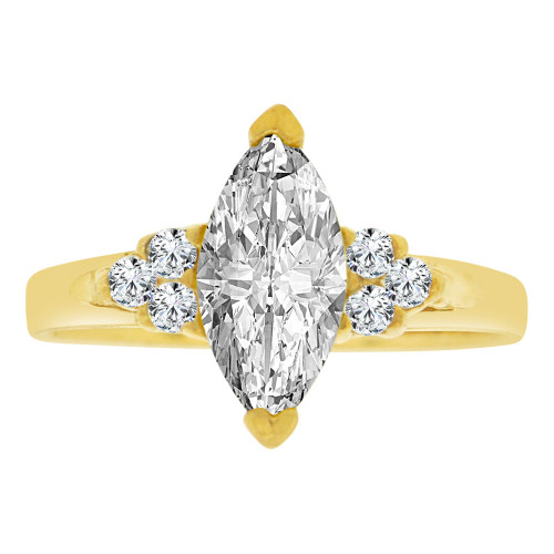 14k Yellow Gold, Simple Classic Ring Created Color Marquise CZ Simulated Apr Birthstones