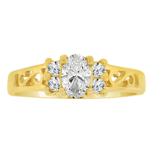 14k Yellow Gold, Dainty Ring Created Color Oval CZ Simulated Apr Birthstones