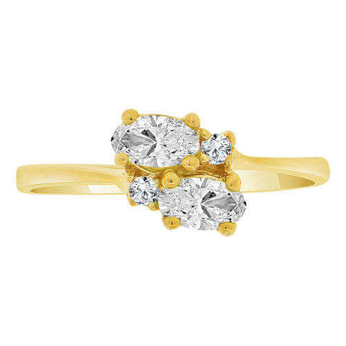 14k Yellow Gold, Classic Ring Created Color Double Oval CZ Simulated Apr Birthstones