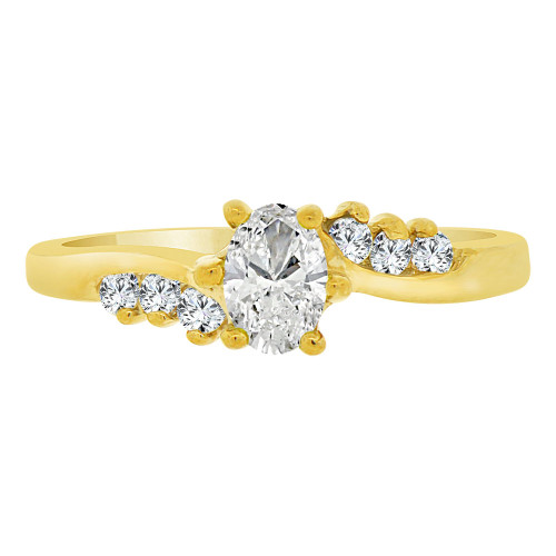 14k Yellow Gold, Classic Ring Created Oval Color CZ Simulated Apr Birthstones