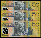 Australia - 2009 - $50 ED09 - 3 Consecutive - Low Serial Numbers - 89 - 90 - 91
