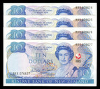 New Zealand - 1990 - $10 Commemorative Notes - 4 Consecutive Notes - RXX076624-27