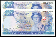 New Zealand - 1990 - $10 Commemorative Notes - Consecutive Pair - RXX073828-29