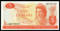 New Zealand - $5 - Knight - 142 584183 - Slipped Digit - Almost Uncirculated