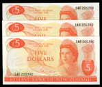 New Zealand - $5 - Hardie - 3 Consecutive Notes - 146 205388-205390 - Uncirculated