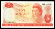 New Zealand - $5 - Hardie - 168 111111 - Solid Serial - Uncirculated