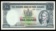 New Zealand - 5 Pounds - 10S Prefix - Fleming - 10S 232102 - Uncirculated