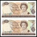 New Zealand - $1 - Star Note Pair - Hardie - AA000039* 40* Uncirculated