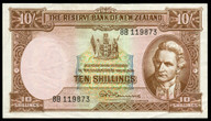New Zealand - 10 Shillings - 8B Prefix - Fleming - 119873 - Uncirculated