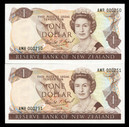 New Zealand - $1 - Brash - AMR 1990 Convention Pair - AMR000250 - 251  - Unc