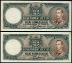Fiji - 1951 - Five Shillings - Consecutive Pair - B/9 11074-75 - Extremely Fine