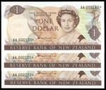 New Zealand - $1 - Star Note Trio - Hardie - AA 000120*-122* - Uncirculated
