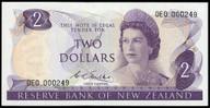 New Zealand - $2 - Wilks - 0E0 000249 - First Prefix - Uncirculated