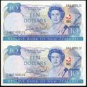 New Zealand - $10 - Brash 'Type 2' - RNZ000121 RNZ000122 - Special - Unc