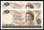 New Zealand - $1 - Knight - E16 500274 - 500275 - Almost Uncirculated