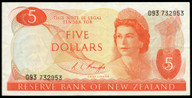 New Zealand - $5 - Knight -  093 732953 - Good Extremely Fine