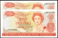 New Zealand - $5 - Brash -JJN 999933 - 999934 - Consecutive Pair - Unc