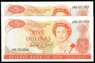New Zealand - $5 - Brash - JHG 001003 - 001004 - Low First Prefix Pair - Unc
